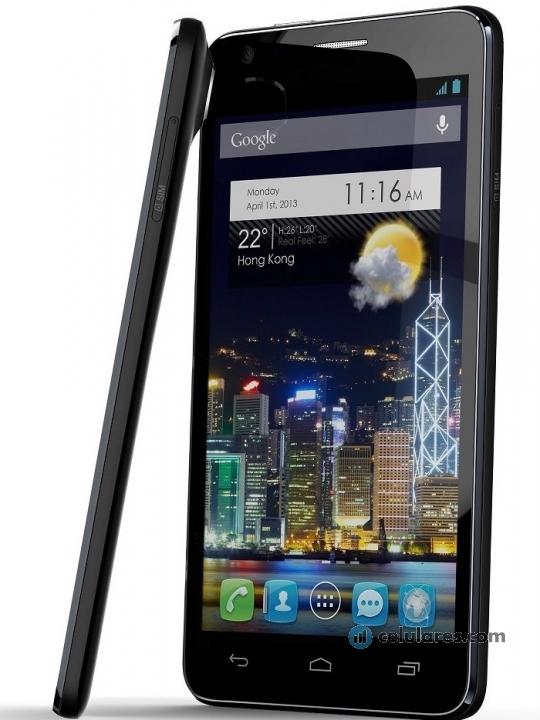Fotografía grande Frontal del Alcatel One Touch Idol Ultra Negro. En la pantalla se muestra Pantalla de inicio