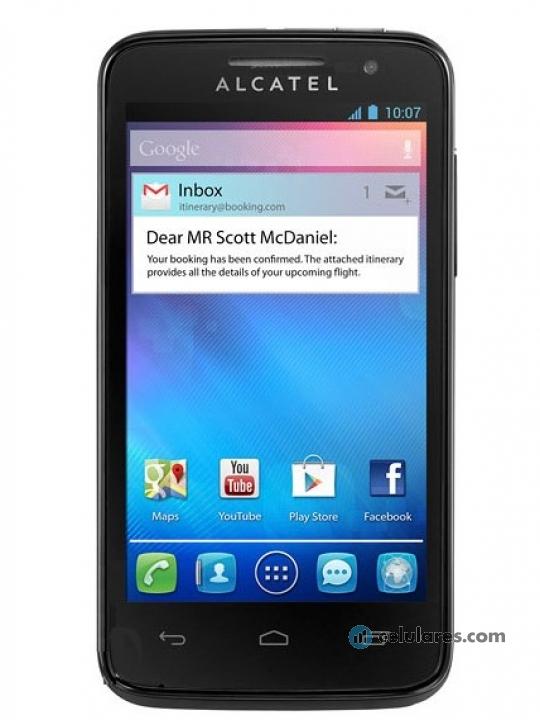 Fotografía grande Frontal del Alcatel One Touch T Pop Naranja y Negro. En la pantalla se muestra Pantalla de inicio