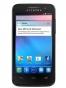 Fotografía Frontal del Alcatel One Touch T Pop Naranja y Negro. En la pantalla se muestra Pantalla de inicio