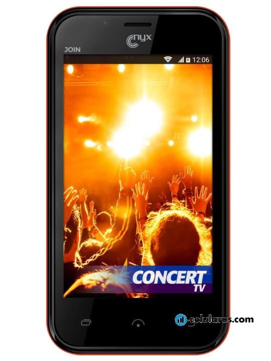 Fotografía grande Varias vistas del Nyx Mobile Join Blanco y Negro y Rojo. En la pantalla se muestra Varias vistas