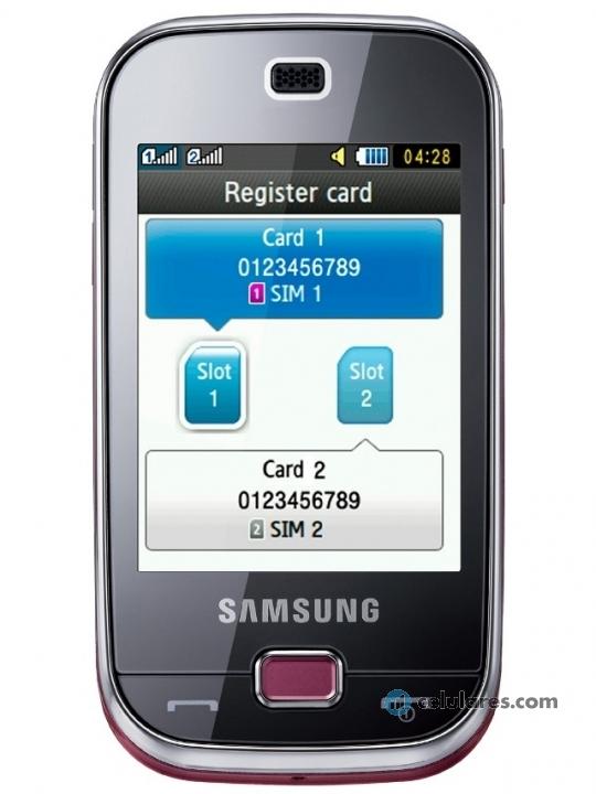 Fotografía grande Frontal del Samsung B5722 Rosa. En la pantalla se muestra Imagen promocional en pantalla