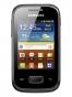 Fotografía Frontal del Samsung Galaxy Pocket Negro. En la pantalla se muestra Reloj